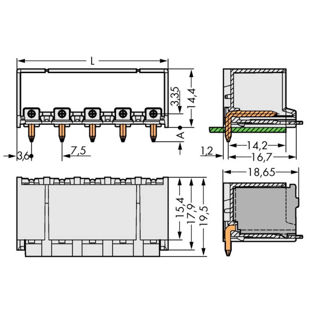 Stiftkabinet-printplade 2092 Samlet antal poler 5 WAGO 2092-3425/200-000 Rastermål: 7.50 mm 100 stk