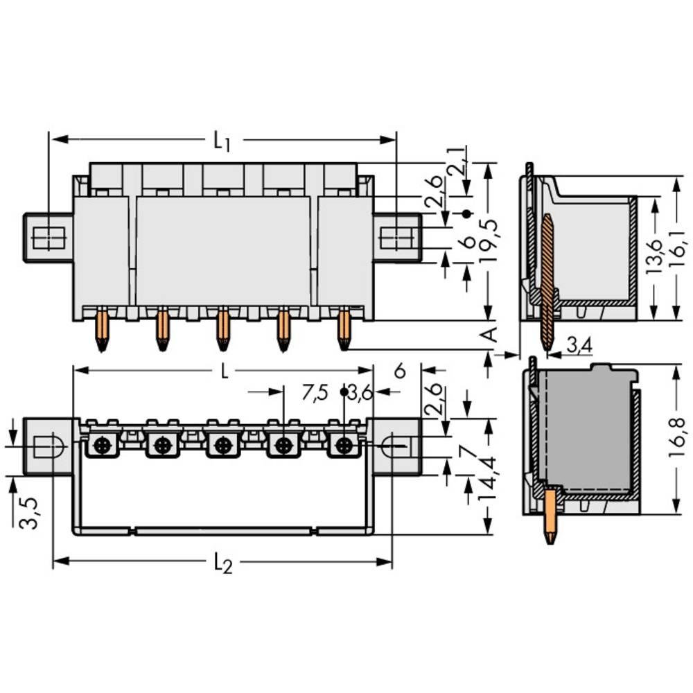 Stiftkabinet-printplade 2092 Samlet antal poler 2 WAGO 2092-3402/205-000 Rastermål: 7.50 mm 100 stk