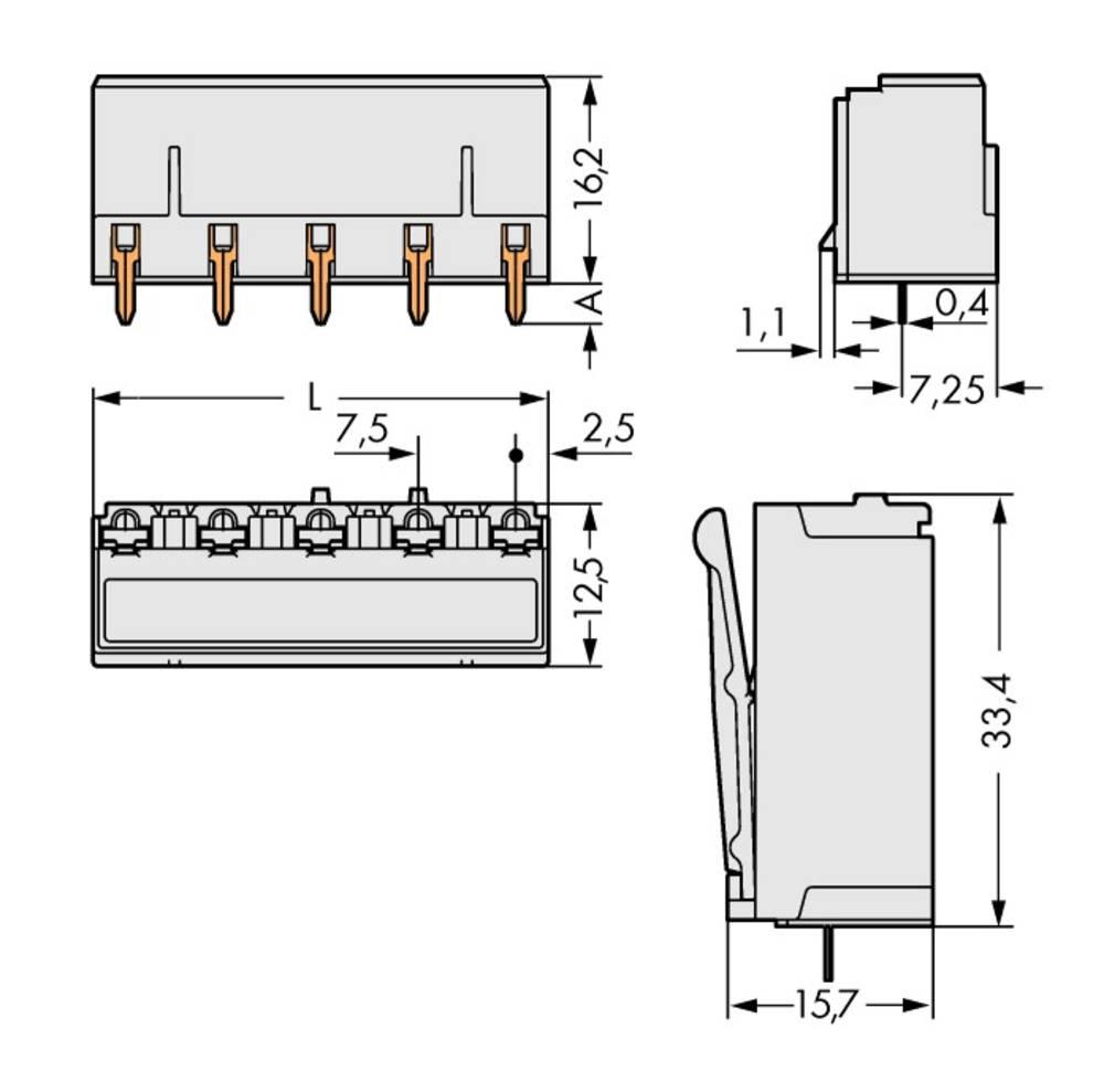 Tilslutningskabinet-printplade 2092 Samlet antal poler 4 WAGO 2092-3304 Rastermål: 7.50 mm 100 stk