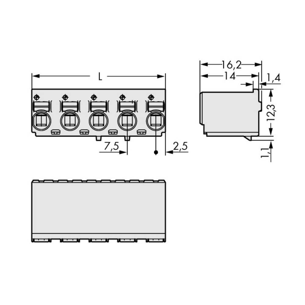Stiftkabinet-printplade 2092 Samlet antal poler 5 WAGO 2092-3125 Rastermål: 7.50 mm 100 stk