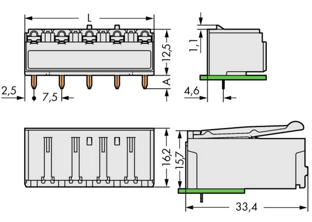 Tilslutningskabinet-printplade 2092 Samlet antal poler 2 WAGO 2092-3322 Rastermål: 7.50 mm 100 stk