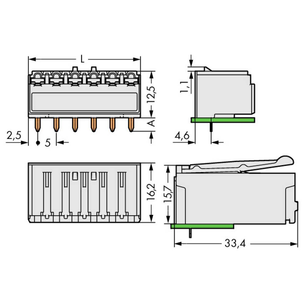 Tilslutningskabinet-printplade 2092 Samlet antal poler 5 WAGO 2092-1325 Rastermål: 5 mm 100 stk