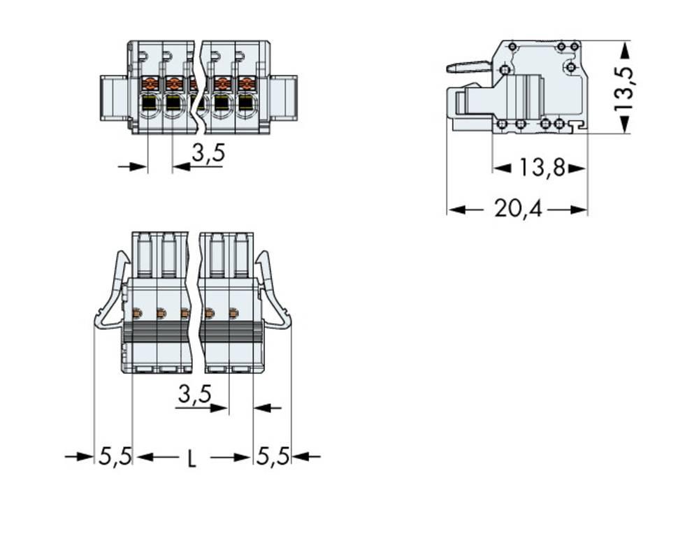Tilslutningskabinet-kabel 2734 Samlet antal poler 8 WAGO 2734-108/037-000 Rastermål: 3.50 mm 50 stk