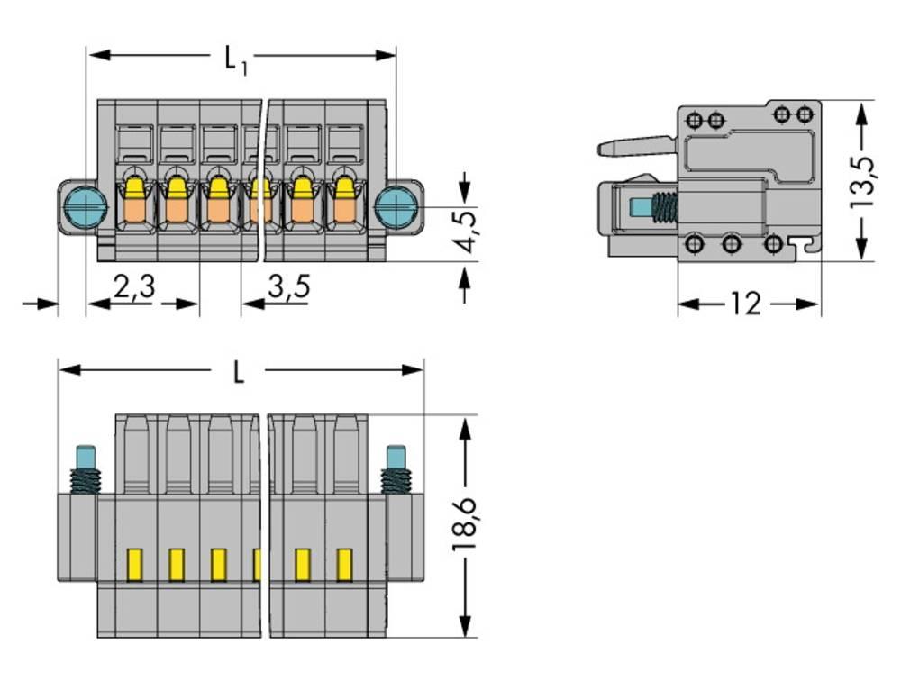 Tilslutningskabinet-kabel 2734 Samlet antal poler 2 WAGO 2734-102/107-000 Rastermål: 3.50 mm 100 stk