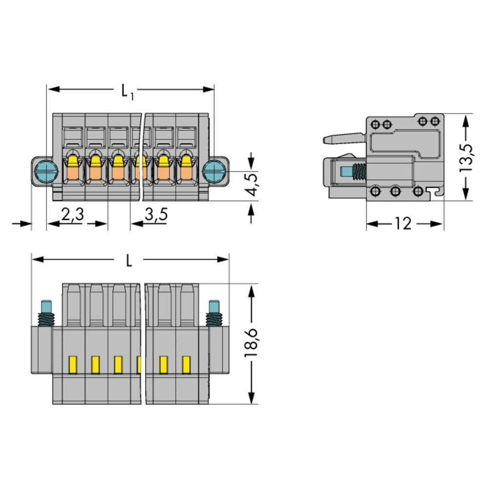 Tilslutningskabinet-kabel 2734 Samlet antal poler 10 WAGO 2734-110/107-000 Rastermål: 3.50 mm 50 stk