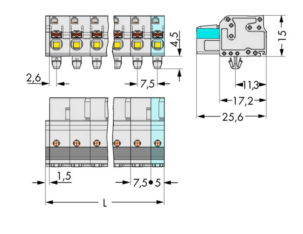 Tilslutningskabinet-kabel 2721 Samlet antal poler 5 WAGO 2721-205/008-000 Rastermål: 7.50 mm 50 stk