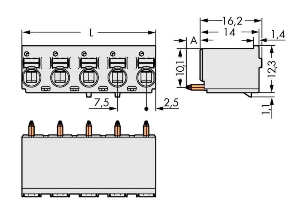 Stiftkabinet-printplade 2092 Samlet antal poler 4 WAGO 2092-3154 Rastermål: 7.50 mm 100 stk