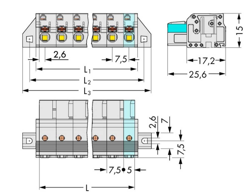 Tilslutningskabinet-kabel 2721 Samlet antal poler 6 WAGO 2721-206/031-000 Rastermål: 7.50 mm 25 stk