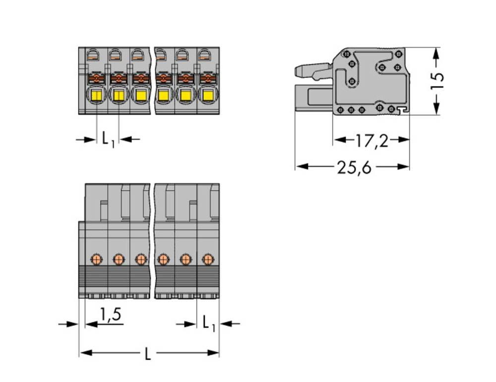 Tilslutningskabinet-kabel 2231 Samlet antal poler 20 WAGO 2231-120/026-000 Rastermål: 5 mm 10 stk