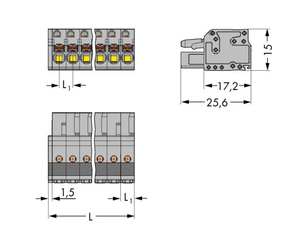 Tilslutningskabinet-kabel 2231 Samlet antal poler 17 WAGO 2231-117/026-000 Rastermål: 5 mm 25 stk
