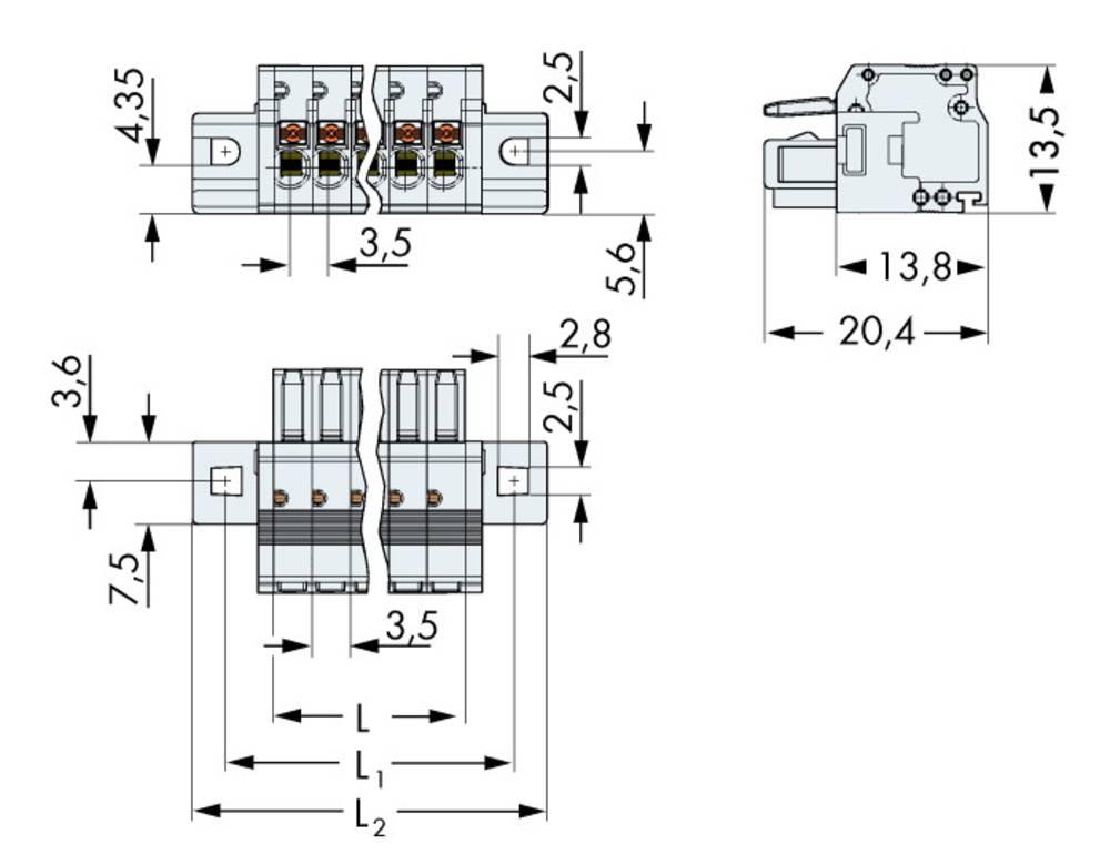 Tilslutningskabinet-kabel 2734 Samlet antal poler 4 WAGO 2734-104/031-000 Rastermål: 3.50 mm 50 stk