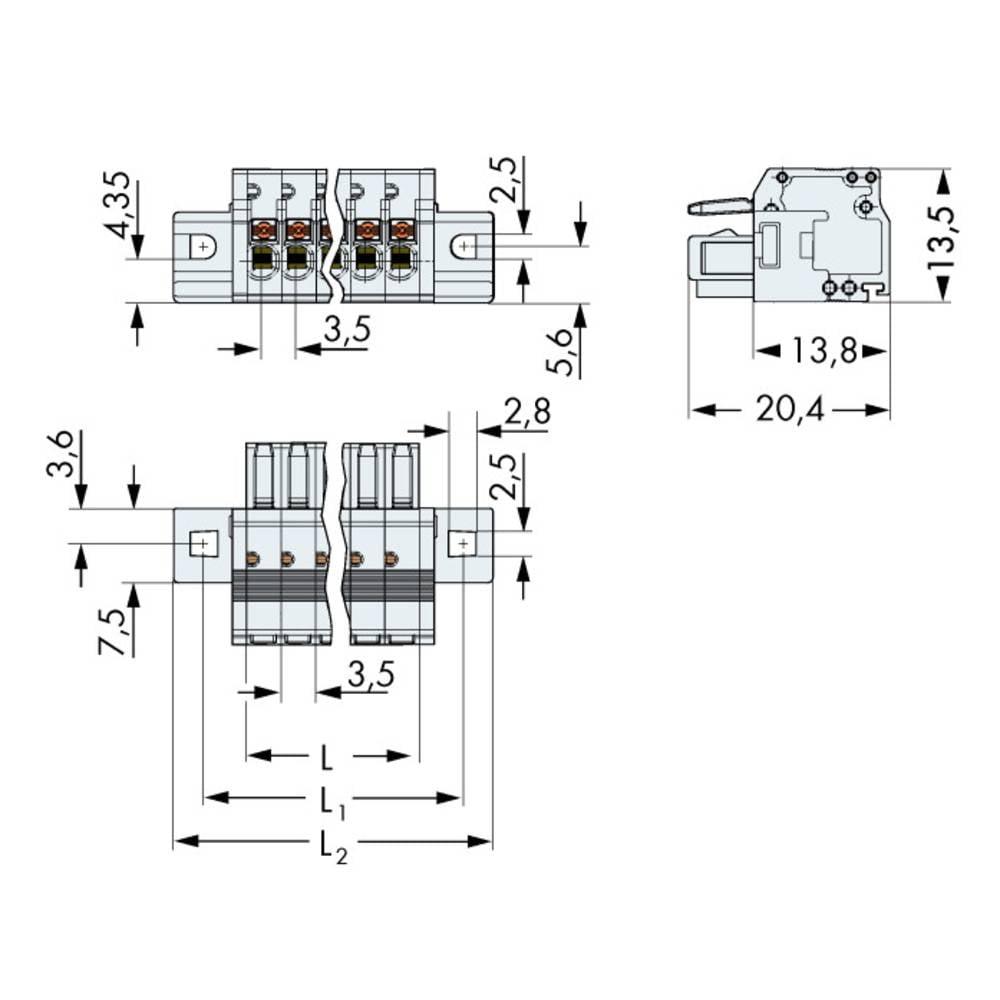 Tilslutningskabinet-kabel 2734 Samlet antal poler 13 WAGO 2734-113/031-000 Rastermål: 3.50 mm 25 stk