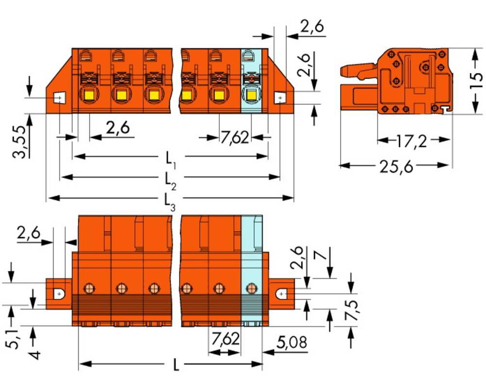 Tilslutningskabinet-kabel 2231 Samlet antal poler 3 WAGO 2231-703/031-000 Rastermål: 7.62 mm 50 stk