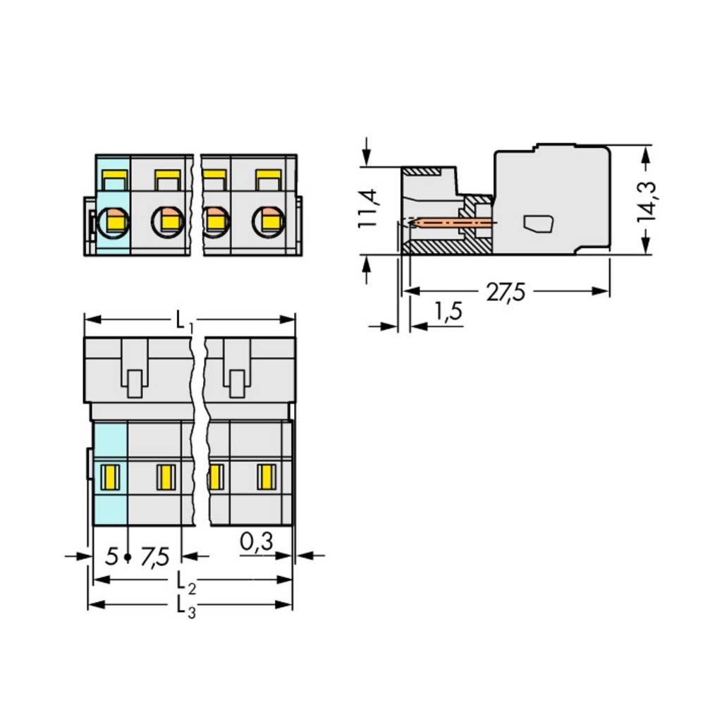 Multistikfatning 723-216/026-000 Samlet poltal 2 WAGO 25 stk