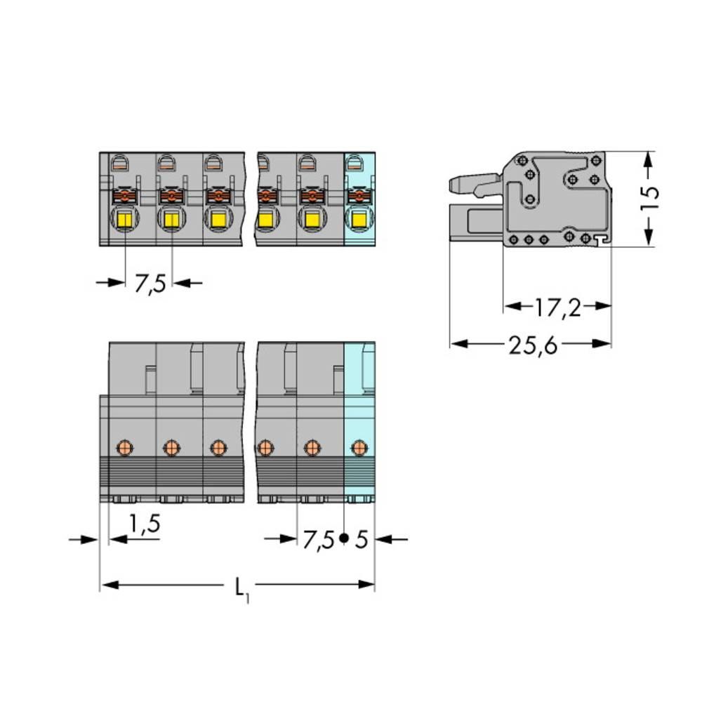 Tilslutningskabinet-kabel 2231 Samlet antal poler 6 WAGO 2231-206/026-000 Rastermål: 7.50 mm 50 stk