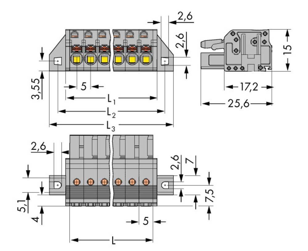 Tilslutningskabinet-kabel 2231 Samlet antal poler 15 WAGO 2231-115/031-000 Rastermål: 5 mm 25 stk