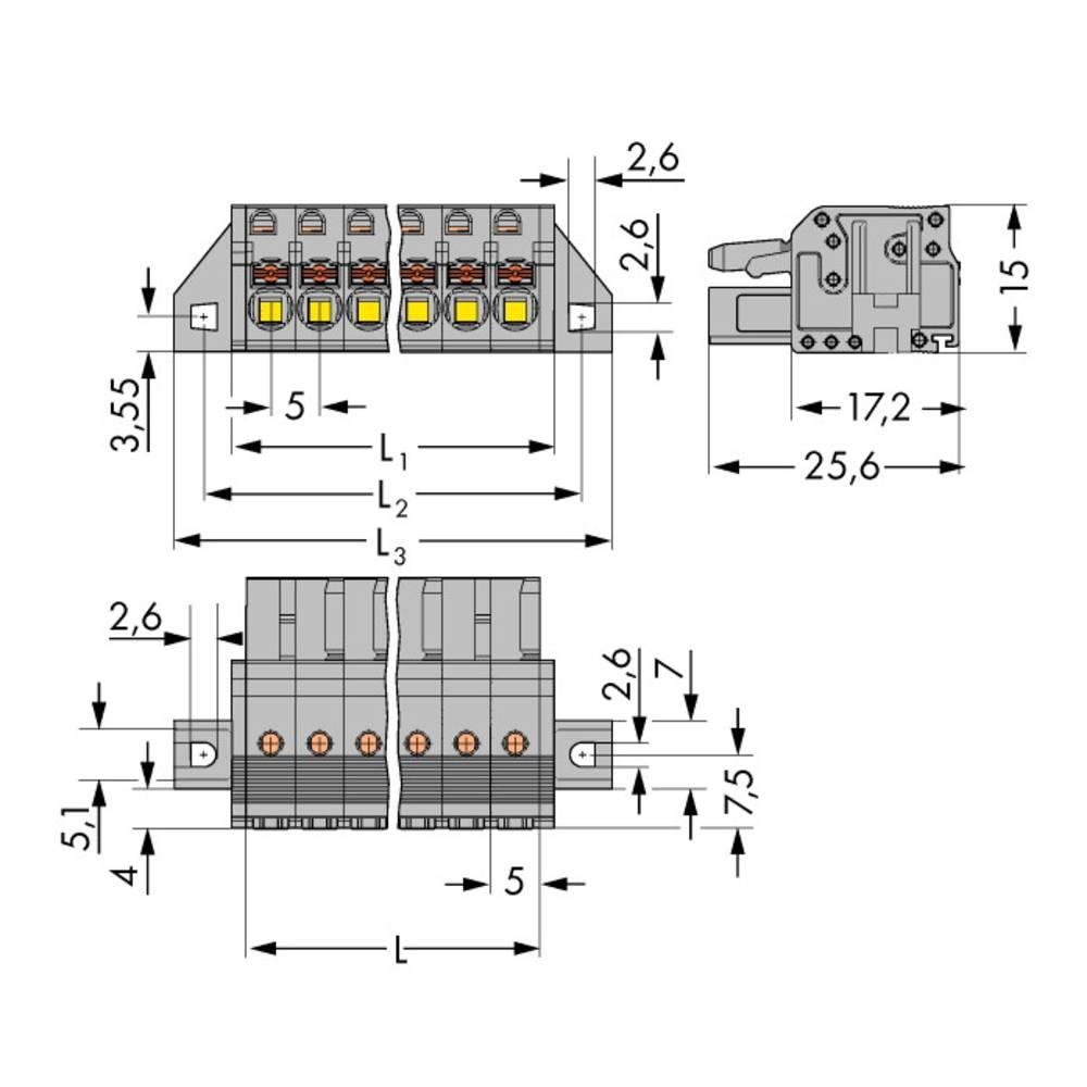 Tilslutningskabinet-kabel 2231 Samlet antal poler 6 WAGO 2231-106/031-000 Rastermål: 5 mm 50 stk