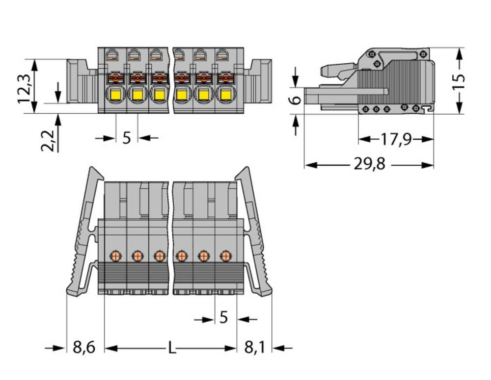 Tilslutningskabinet-kabel 2231 Samlet antal poler 15 WAGO 2231-115/037-000 Rastermål: 5 mm 25 stk