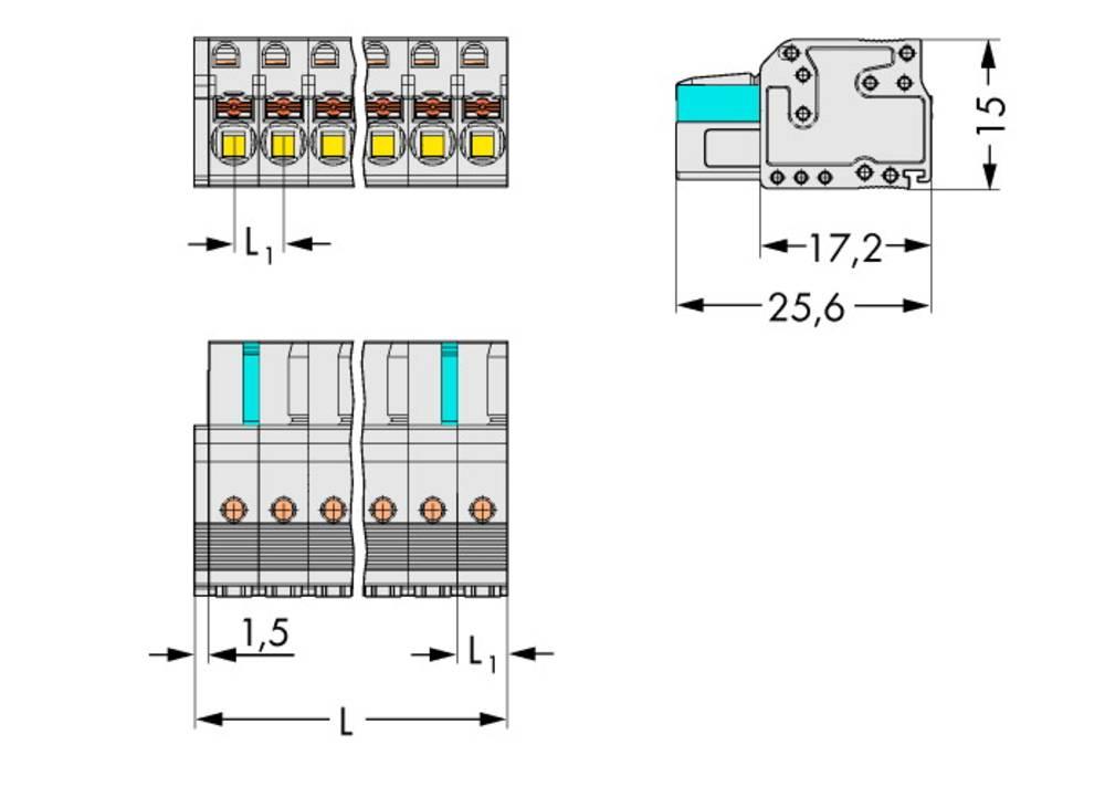 Tilslutningskabinet-kabel 2721 Samlet antal poler 9 WAGO 2721-109/026-000 Rastermål: 5 mm 50 stk