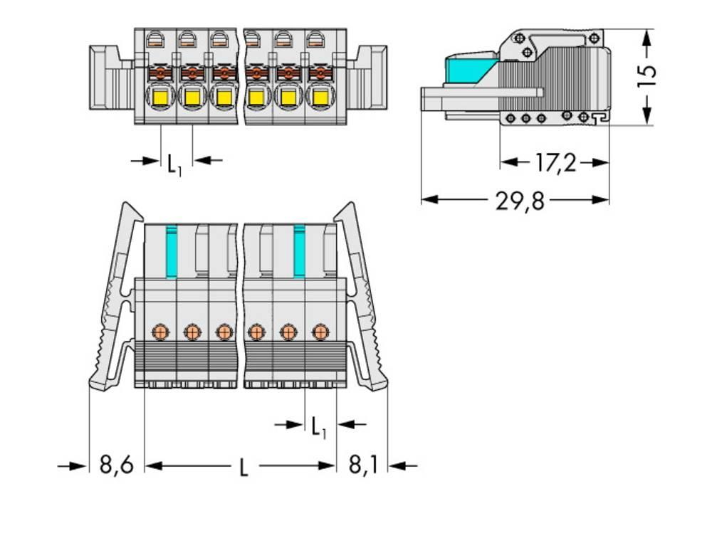 Tilslutningskabinet-kabel 2721 Samlet antal poler 2 WAGO 2721-102/037-000 Rastermål: 5 mm 100 stk