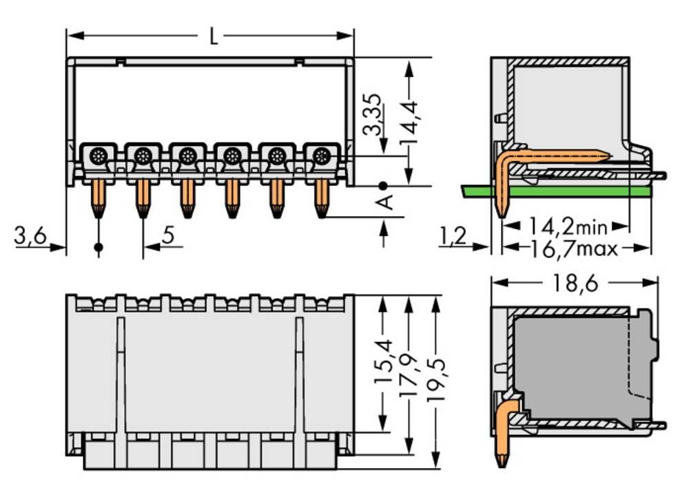 Stiftkabinet-printplade 2092 Samlet antal poler 2 WAGO 2092-1422 Rastermål: 5 mm 200 stk