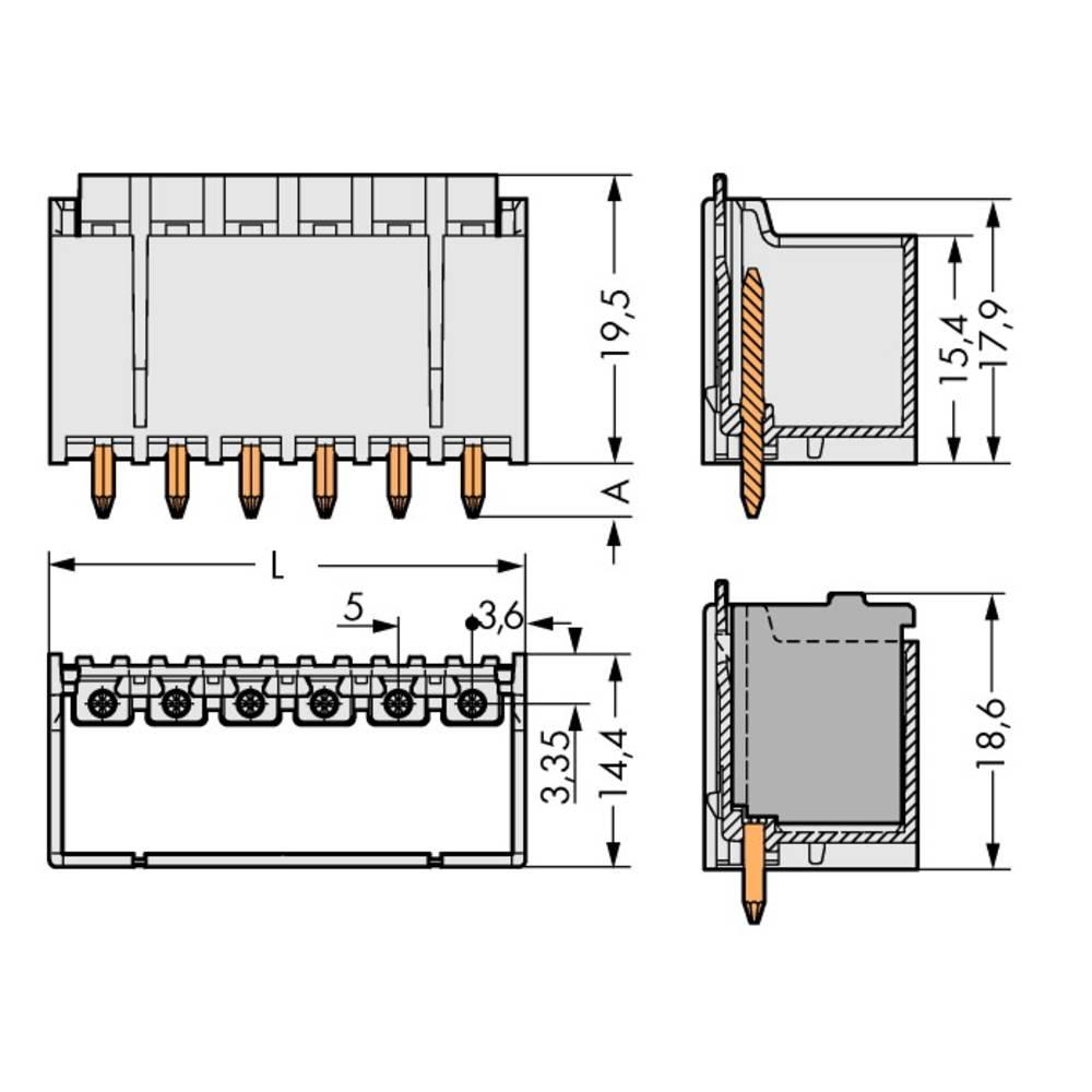Stiftkabinet-printplade 2092 Samlet antal poler 4 WAGO 2092-1404 Rastermål: 5 mm 200 stk