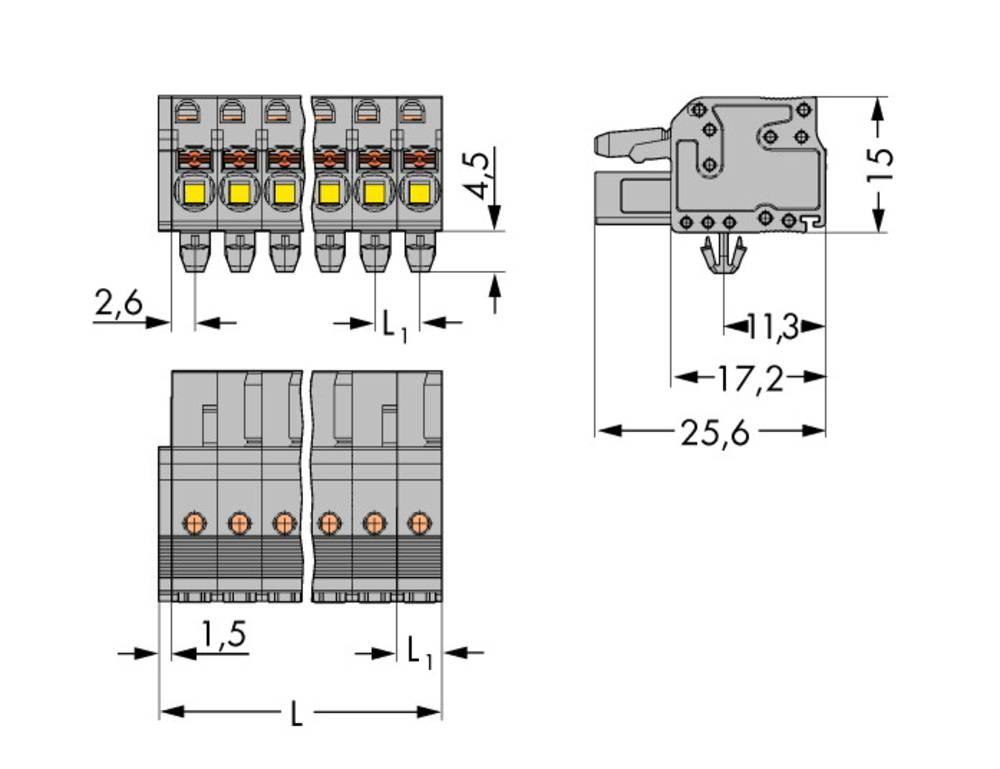 Tilslutningskabinet-kabel 2231 Samlet antal poler 14 WAGO 2231-114/008-000 Rastermål: 5 mm 25 stk