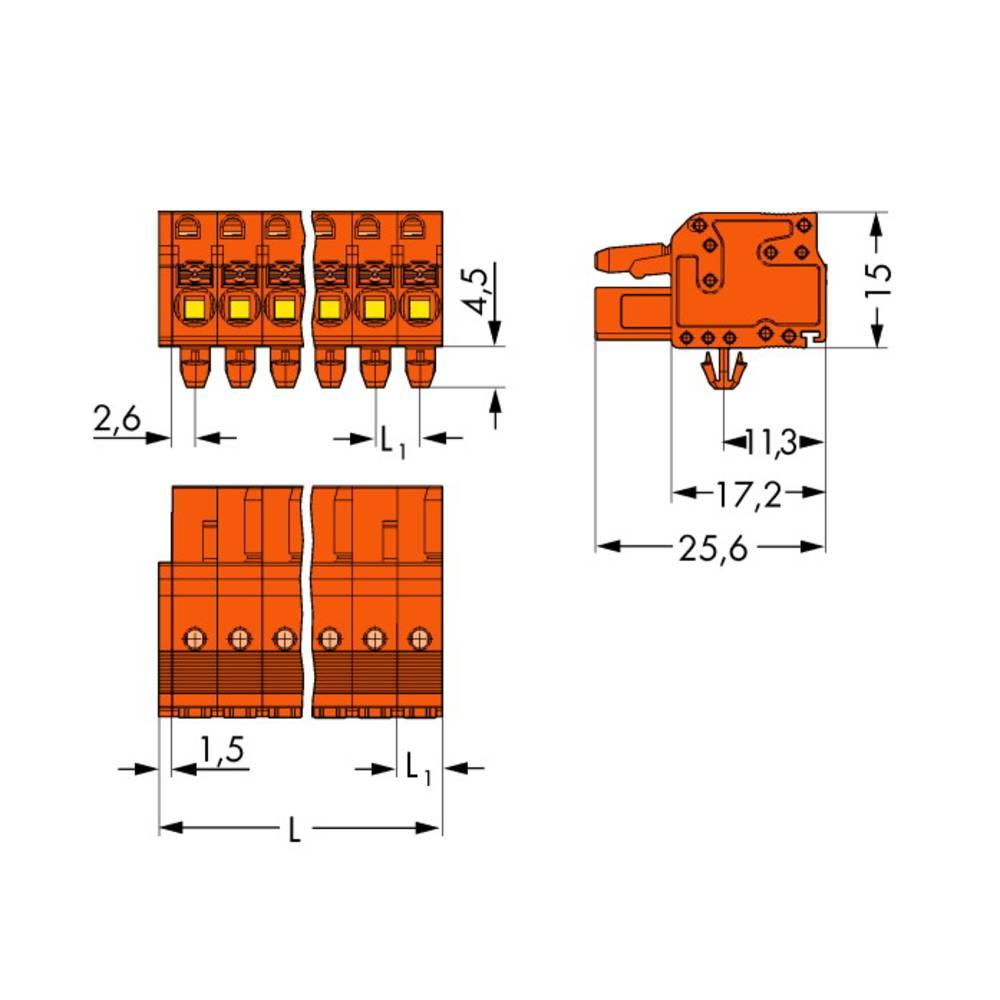 Tilslutningskabinet-kabel 2231 Samlet antal poler 22 WAGO 2231-322/008-000 Rastermål: 5.08 mm 10 stk