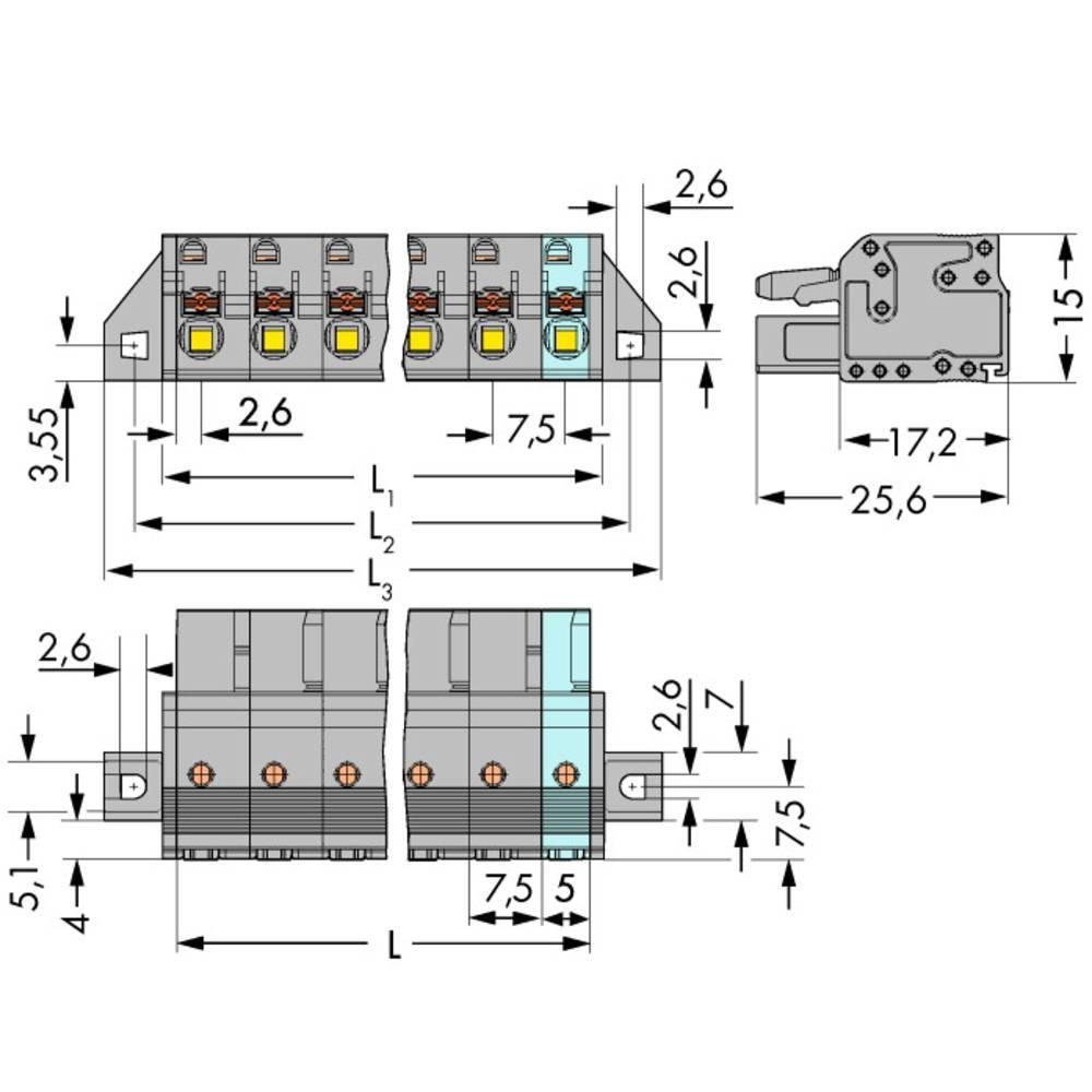 Tilslutningskabinet-kabel 2231 Samlet antal poler 5 WAGO 2231-205/031-000 Rastermål: 7.50 mm 50 stk