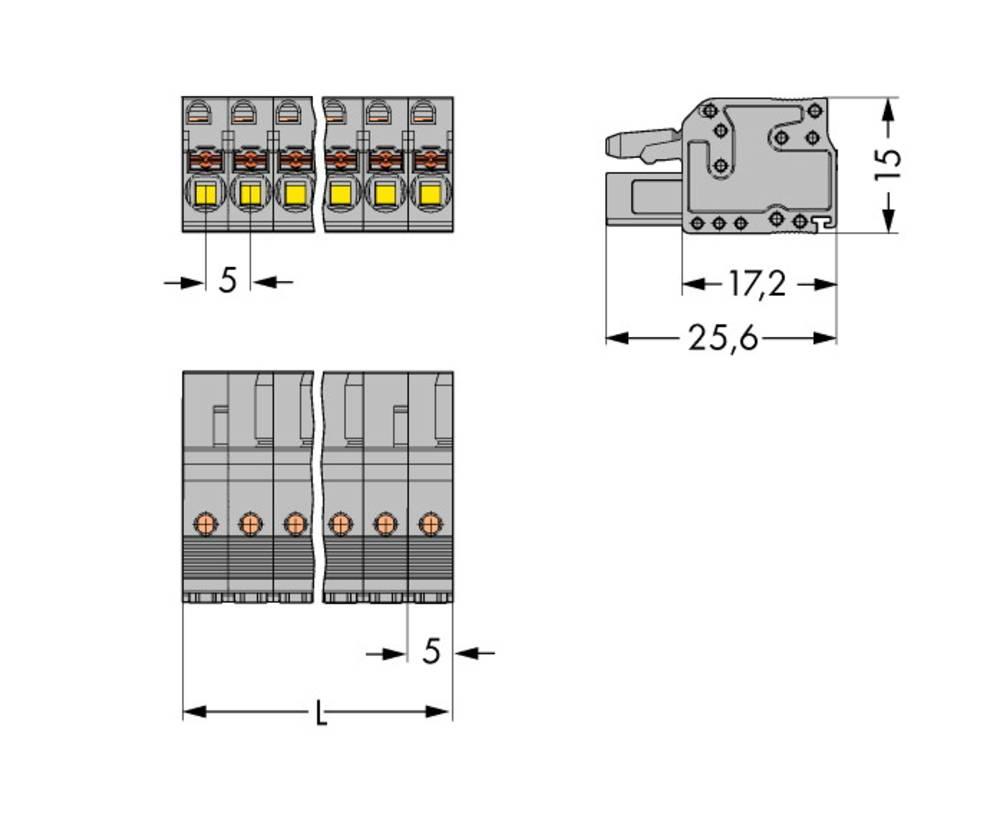 Tilslutningskabinet-kabel 2231 Samlet antal poler 15 WAGO 2231-115/102-000 Rastermål: 5 mm 25 stk