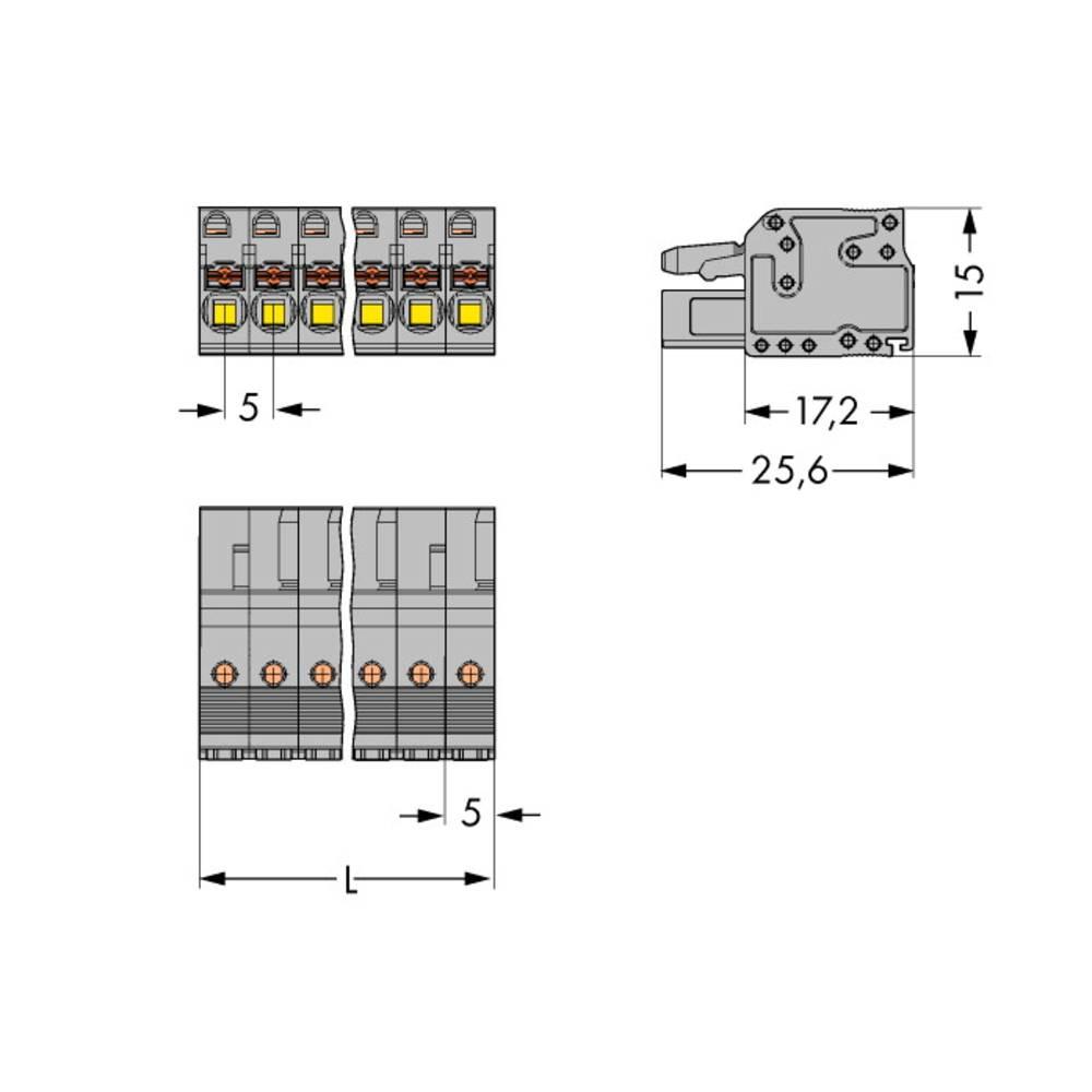 Tilslutningskabinet-kabel 2231 Samlet antal poler 22 WAGO 2231-122/102-000 Rastermål: 5 mm 10 stk