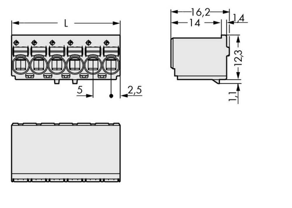 Stiftkabinet-printplade 2092 Samlet antal poler 10 WAGO 2092-1130/000-5000 Rastermål: 5 mm 100 stk