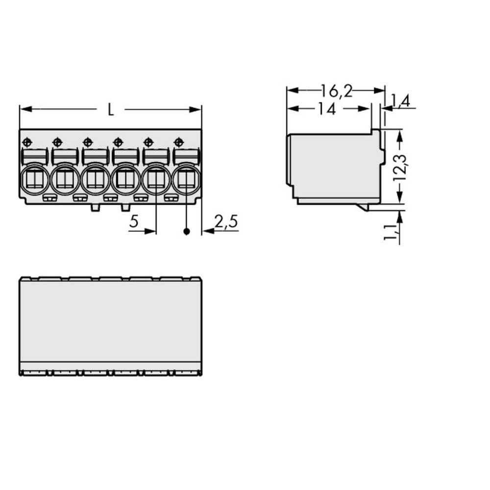 Stiftkabinet-printplade 2092 Samlet antal poler 3 WAGO 2092-1123/000-1000 Rastermål: 5 mm 200 stk