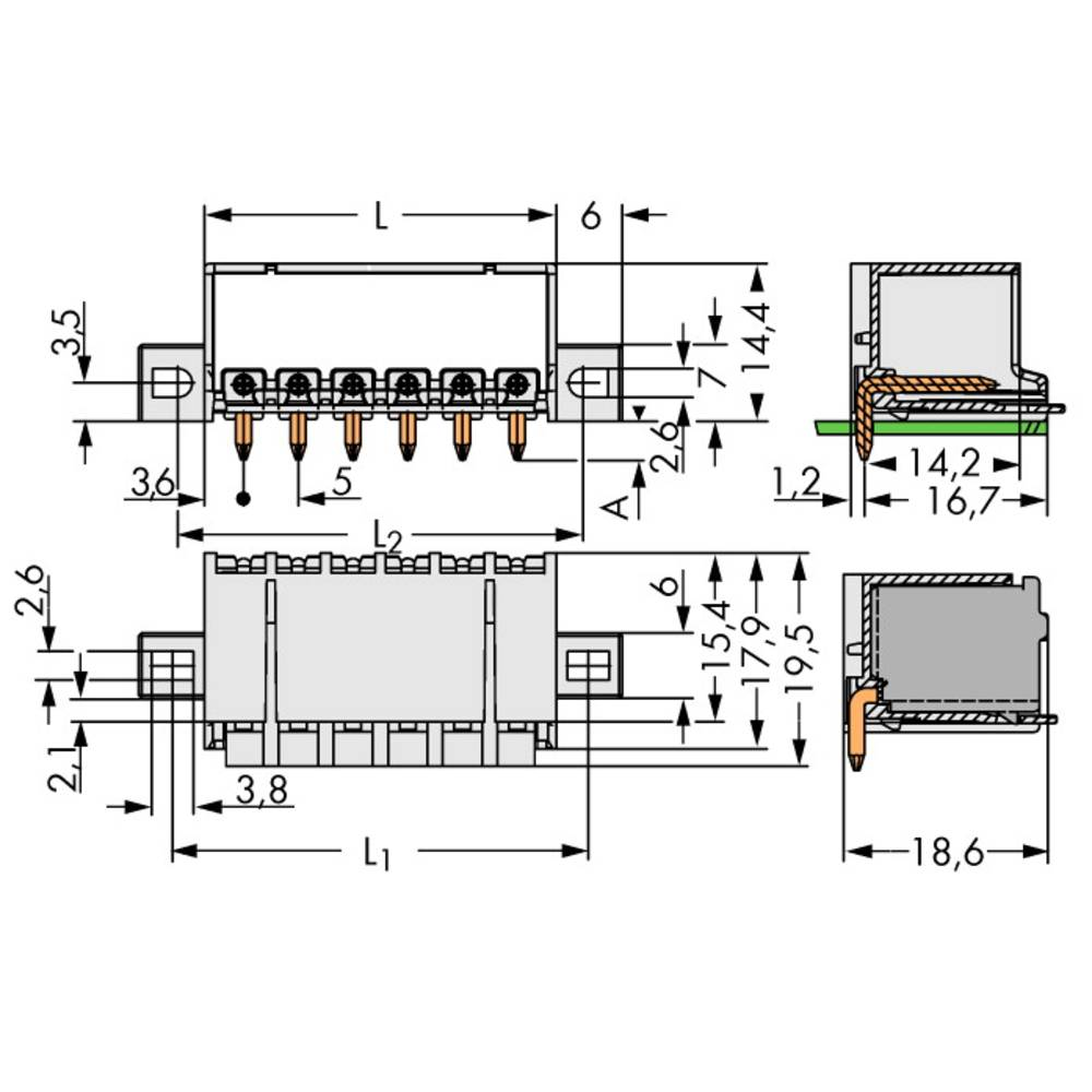 Stiftkabinet-printplade 2092 Samlet antal poler 5 WAGO 2092-1425/205-000 Rastermål: 5 mm 100 stk