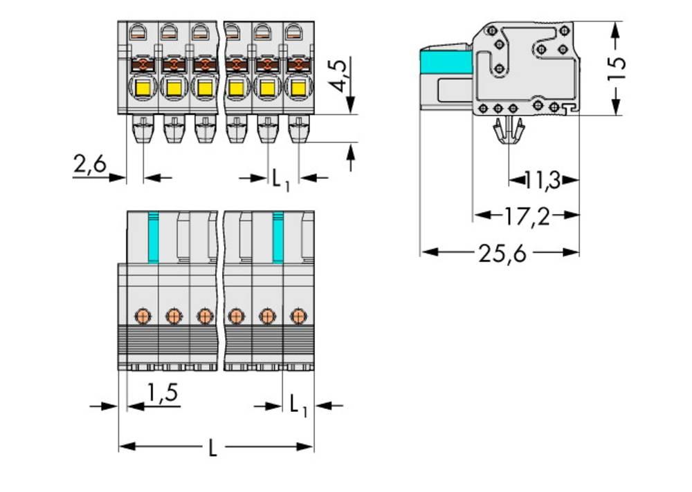 Tilslutningskabinet-kabel 2721 Samlet antal poler 16 WAGO 2721-116/008-000 Rastermål: 5 mm 25 stk