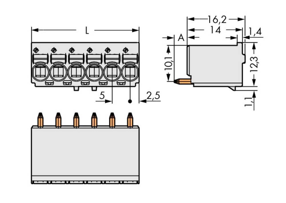 Stiftkabinet-printplade 2092 Samlet antal poler 2 WAGO 2092-1172 Rastermål: 5 mm 200 stk
