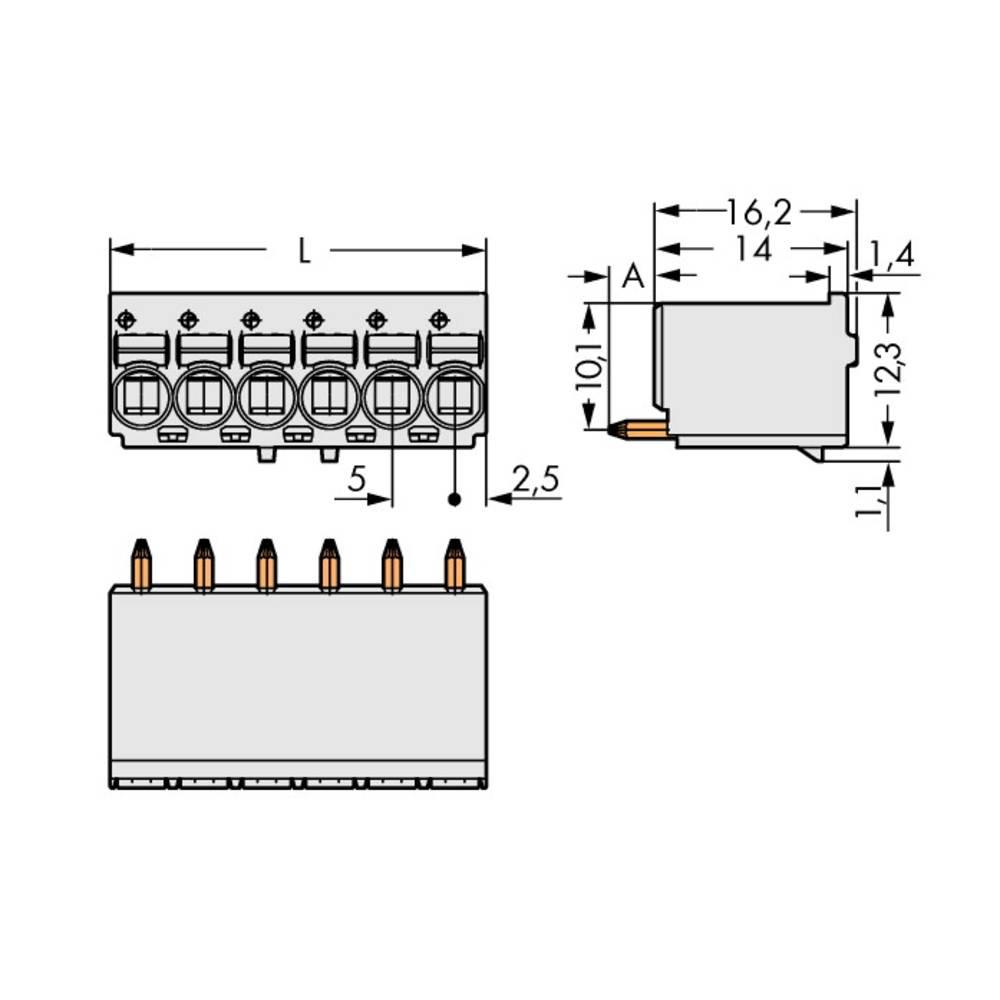 Stiftkabinet-printplade 2092 Samlet antal poler 4 WAGO 2092-1154 Rastermål: 5 mm 200 stk