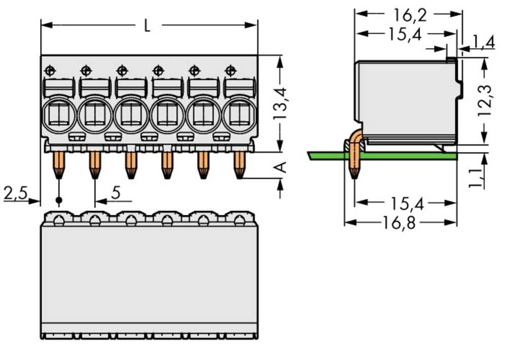 Stiftkabinet-printplade 2092 Samlet antal poler 6 WAGO 2092-1376 Rastermål: 5 mm 100 stk