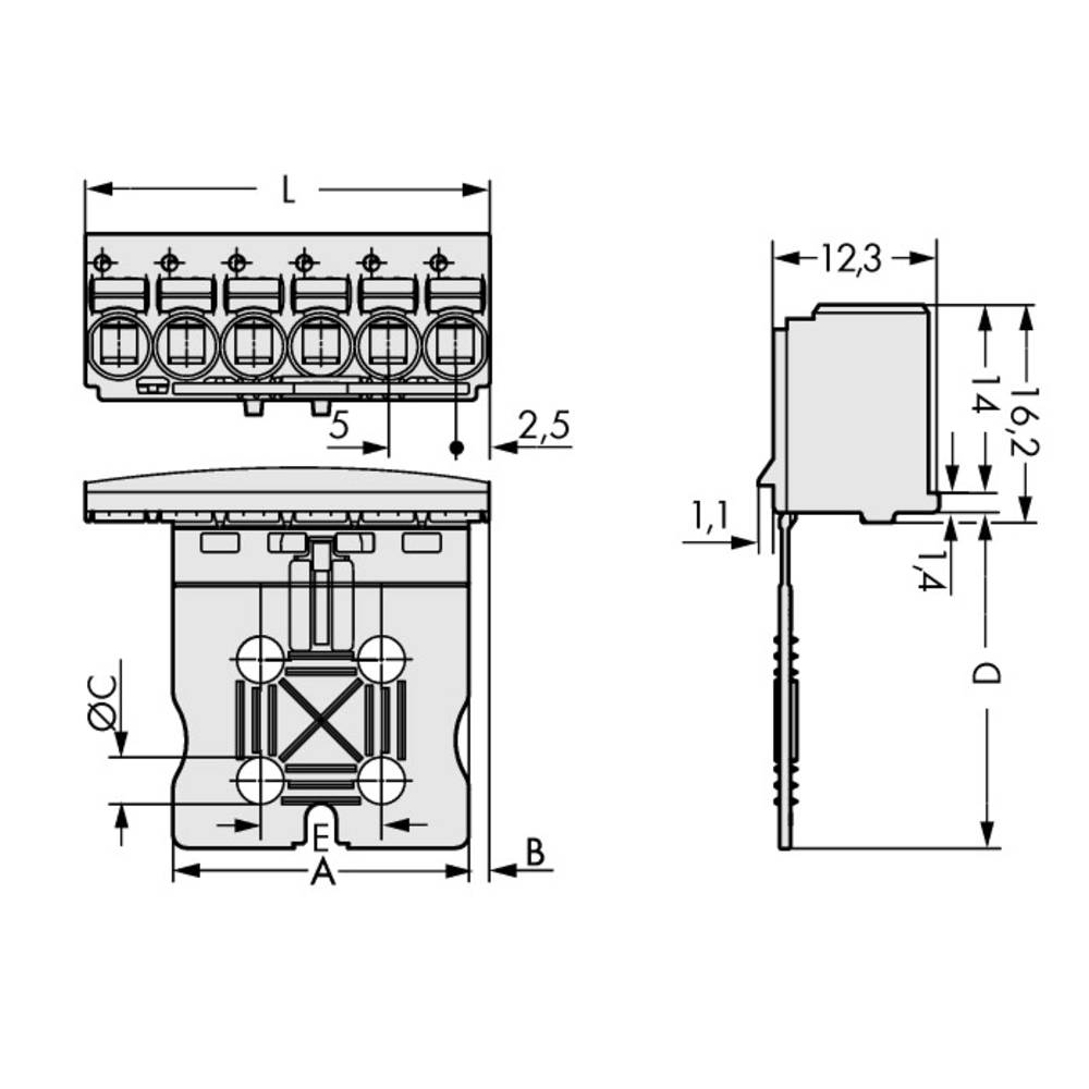 Stiftkabinet-printplade 2092 Samlet antal poler 8 WAGO 2092-1108/000-1000 Rastermål: 5 mm 100 stk