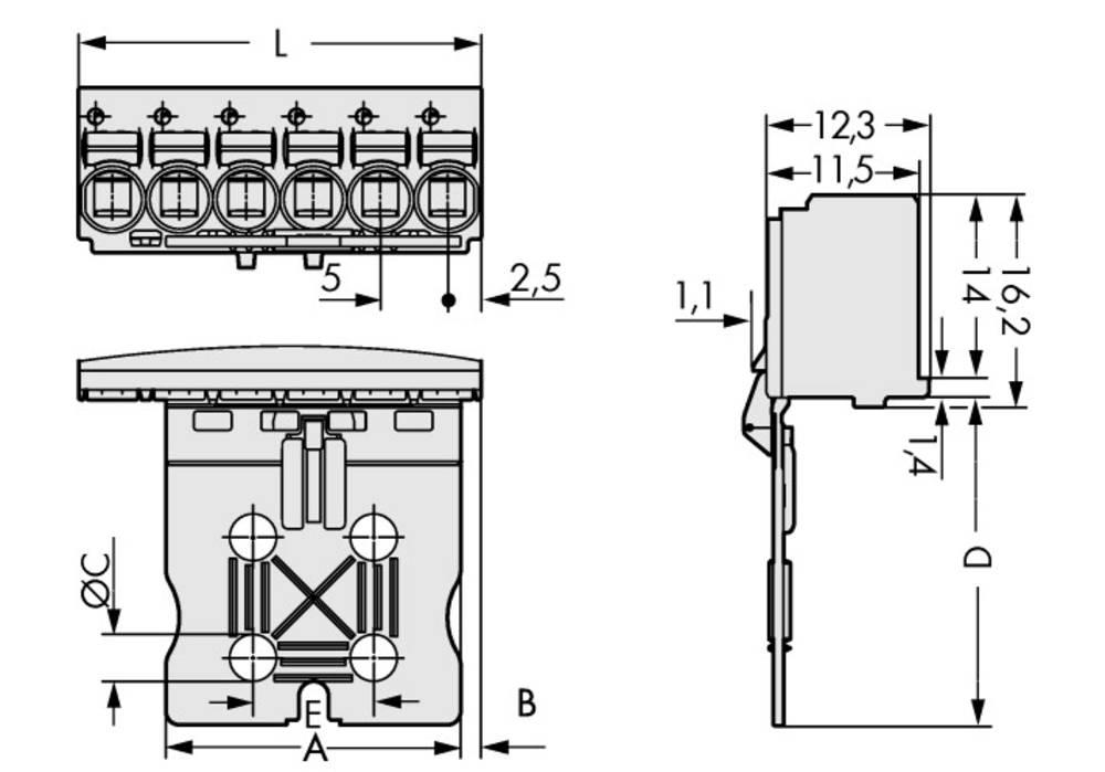 Stiftkabinet-printplade 2092 Samlet antal poler 5 WAGO 2092-1105/002-000 Rastermål: 5 mm 100 stk