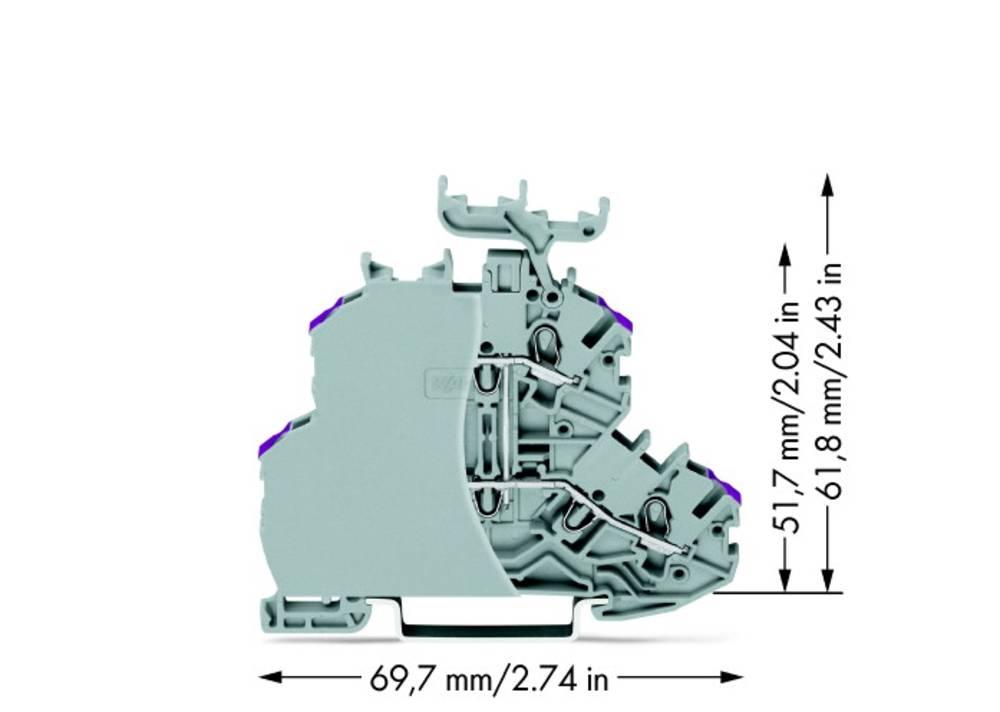 Dobbeltlags-gennemgangsklemme 4.20 mm Trækfjeder Belægning: L Grå WAGO 2000-2238/099-000 50 stk