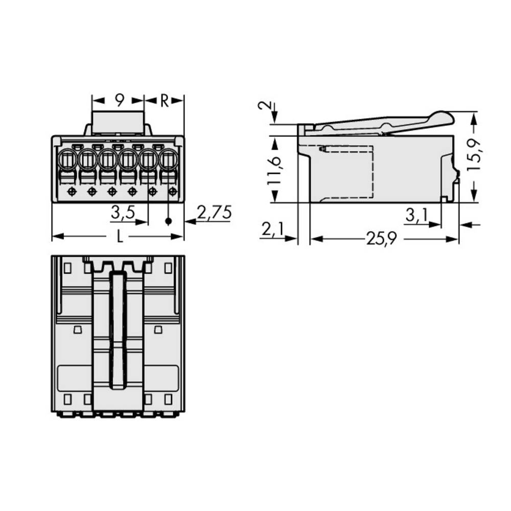Stiftkabinet-printplade 2091 Samlet antal poler 6 WAGO 2091-1526/002-000 Rastermål: 3.50 mm 100 stk
