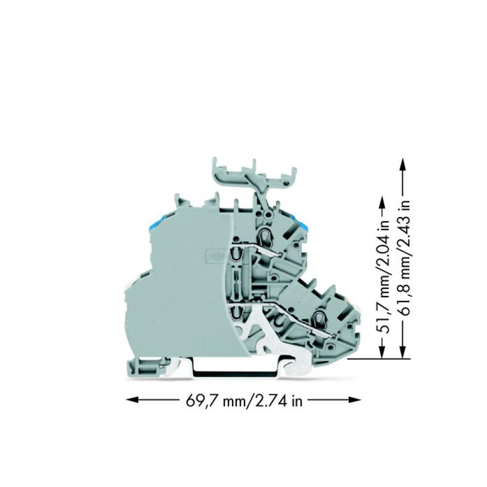Dobbeltlags-gennemgangsklemme 4.20 mm Trækfjeder Belægning: L Grå WAGO 2000-2248/099-000 50 stk