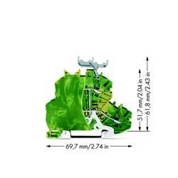 Dobbeltlags-beskyttelseslederklemme 4.20 mm Trækfjeder Belægning: Terre Grøn-gul WAGO 2000-2237/099-000 50 stk