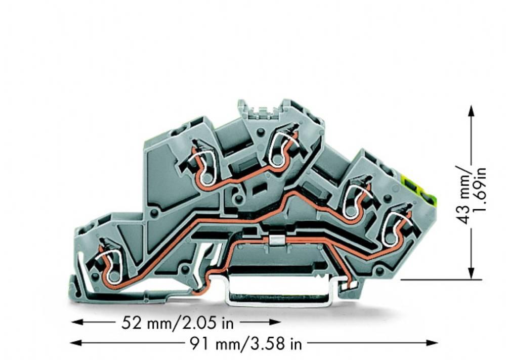 installations-etageklemme 5 mm Trækfjeder Belægning: L, L, Terre Grå WAGO 775-645 50 stk