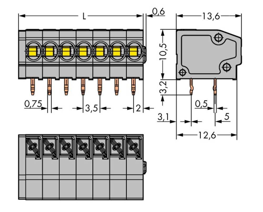 Fjederkraftsklemmeblok WAGO 1.50 mm² Poltal 6 Grå 220 stk