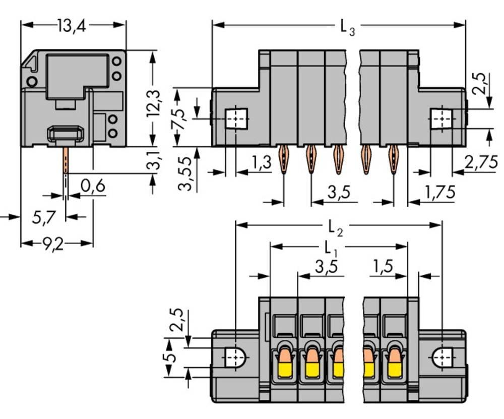 Fjederkraftsklemmeblok WAGO 1.50 mm² Poltal 4 Grå 140 stk