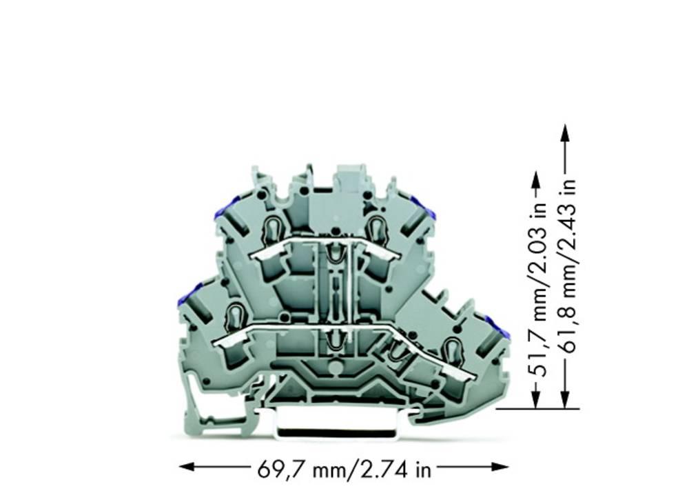 Dobbeltlags-gennemgangsklemme 5.20 mm Trækfjeder Belægning: L Grå WAGO 2002-2208 50 stk