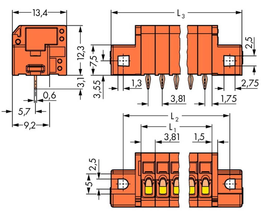 Fjederkraftsklemmeblok WAGO 1.50 mm² Poltal 3 Orange 180 stk