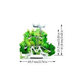 Dobbeltlags-beskyttelseslederklemme 5.20 mm Trækfjeder Belægning: Terre Grøn-gul WAGO 2002-2237 50 stk